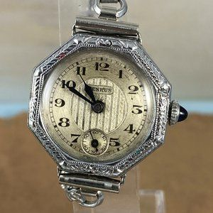 Antique Benrus 20 Karat Rolled White Gold Watch
